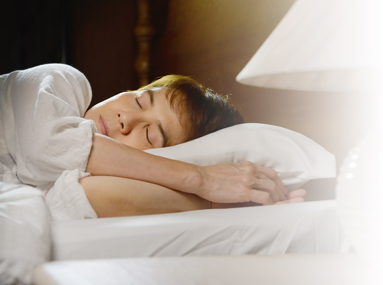 Peaceful woman sleeping.
